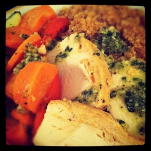 Roasted Chicken & Veggies with a pesto sauce